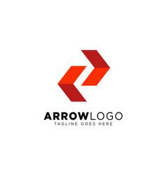 Red arrow direction logo design template vector