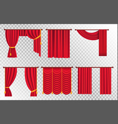 red drapes with gold tieback and lambrequin vector image
