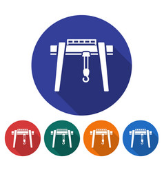 round icon of gantry crane flat style with long vector image