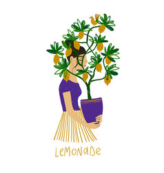 Sad girl holding a pot with lemon tree vector