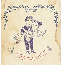 Save the date wedding invitation - retro style vector image