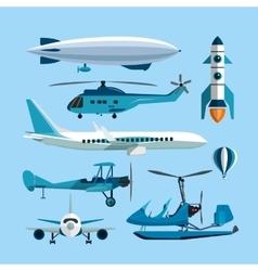 set flying transportation objects hot vector image