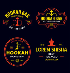 set hookah labels badges and design elements vector image
