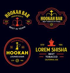 set hookah labels badges and design elements vector image