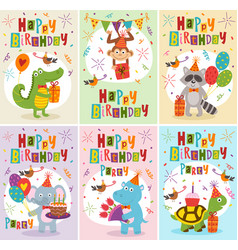 Set of greeting cards birthday with animals vector
