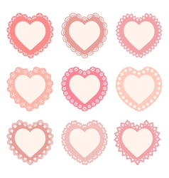 Set of heart shaped frames vector
