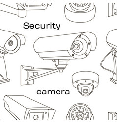 Set security camera pattern vector