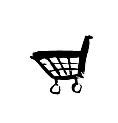 shopping cart grunge icon handdrawn vector image