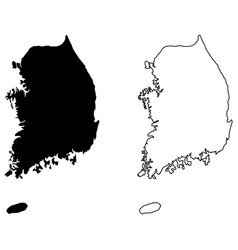 Simple only sharp corners map south korea vector