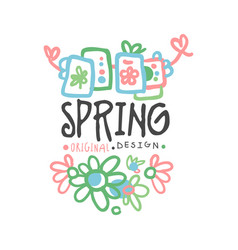 spring logo template original design with flowers vector image