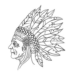 Squaw american native indian portrait illus vector