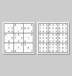 Sudoku with the answer japanese game vector