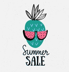 summer background with hand drawn pineapple with vector image