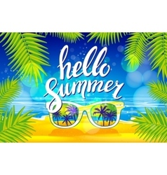 Summer poster with sunglasses palm vector image