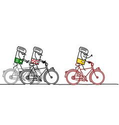 Three cartoon racing cyclists vector