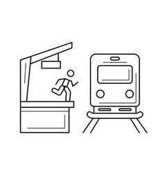 Train station line icon vector