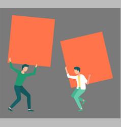 Two men holding orange blank empty posters vector