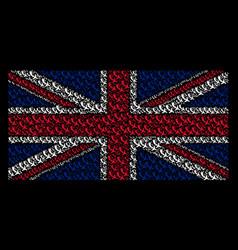 United kingdom flag mosaic of falling airplane vector