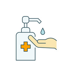 Use hand sanitizer line color icon on white vector