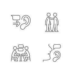 Verbal and nonverbal communication linear icons vector