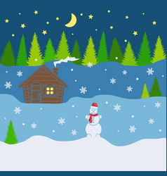 winter background with forest house snowman vector image
