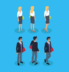 woman and man office workers vector image