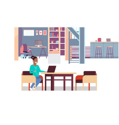 woman using laptop listening to music vector image