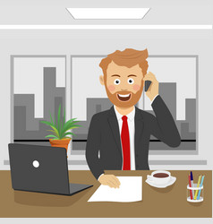 Young business man talking on phone in office vector