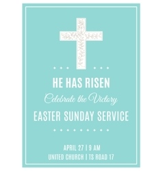 Cross and Flowers Easter Sunday Service Poster vector image