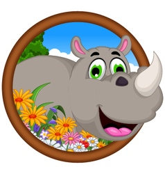 Cute cartoon rhino for you design vector