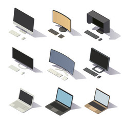 isometric low poly computers vector image