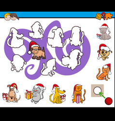 match silhouettes game for children vector image vector image