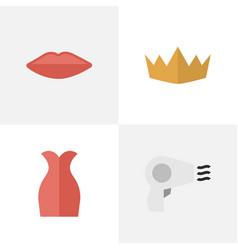 set of simple elegance icons vector image