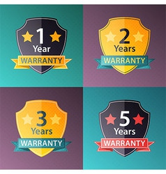 Warranty signs set in halftone texture style vector image
