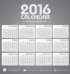 Calendar 2016 gray color tone background design vector image vector image