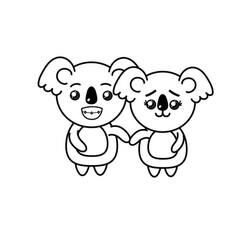 Line cute couple koala wild animal with beautiful vector