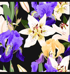 seamless pattern with lilies and irises vector image