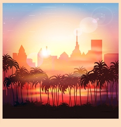 a city at sunrise vector image