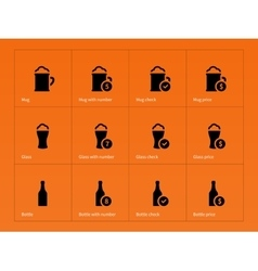 Beer and alcohol glasses icons on orange vector image