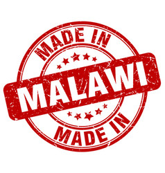 Made in malawi red grunge round stamp vector