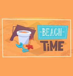 summer beach time vacation sea travel retro banner vector image vector image