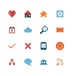 Pixel Web Icons Set vector image vector image