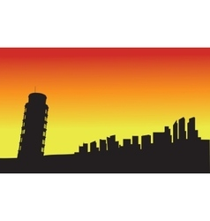 Silhouette tower of pisa at sunset vector