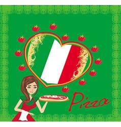 smiling waitress serving pizza menu card vector image vector image