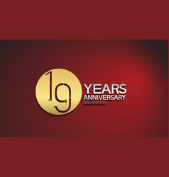 19 years anniversary logotype with golden circle vector