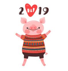 2019 happy new year card design symbol vector image