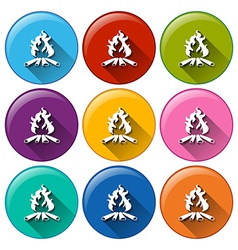 A round button with campfires vector image