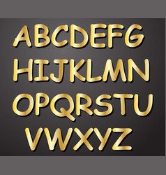 alphabet in gold color from a to z vector image