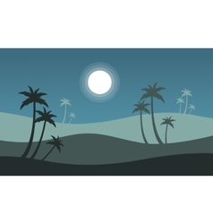 At night seaside scenery with palm vector