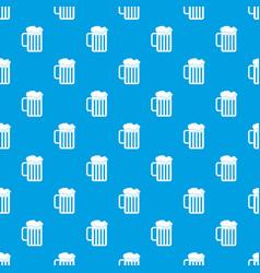 beer mug pattern seamless blue vector image
